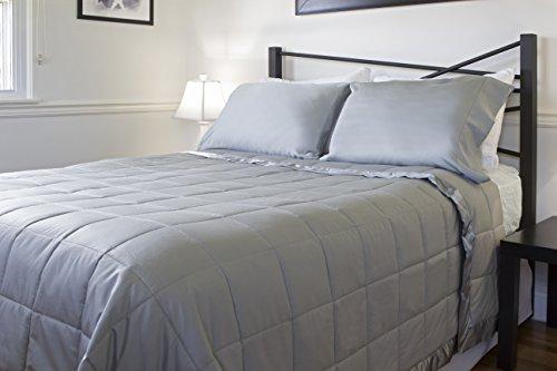 Design Weave All Season Temperature Regulating Hypoallergenic Blanket - 300 Thread Count, 100% Cotton Sateen Weave, King, Stone Gray