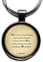 Romans 8:28 Love God According to his Purpose King James Version KJV Bible Silver Keychain Keyring