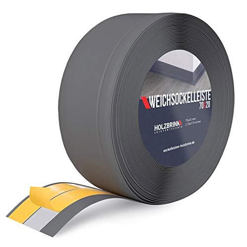 HOLZBRINK Weichsockelleiste selbstklebend Graphitgrau Knickleiste, Material: PVC, 70x20mm, 5 Meter