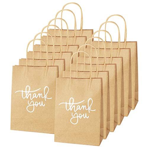 XNX 24 Papiertüten mit Henkel - Kraft Papiertüte mit Danke Schriftart, Für Partys, Geschenk, Brottüten, Papiertragetaschen, Packpapier Tüten Weiß
