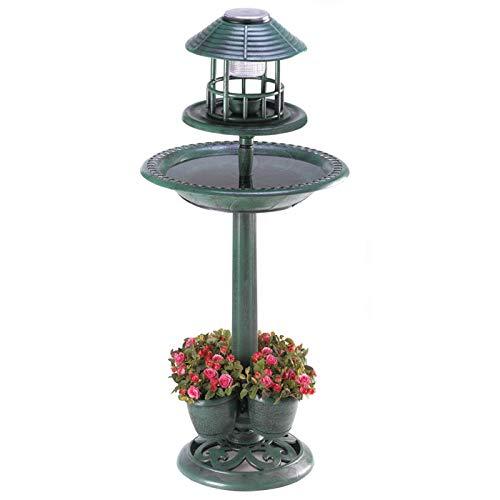 Pájaro de baño solar, maceta con luz jardín adorno hogar patio