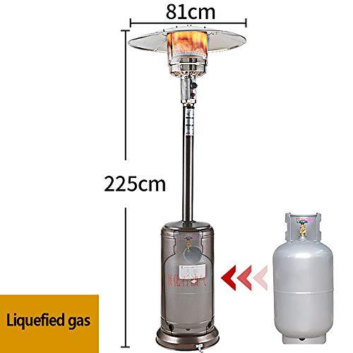 LKK-YSZWJ Heizstrahler Terrasse, Heizpilz mit Stufenloser Regulierung, Umkippsicherung, Heizpilz aus Edelstahl, 10,5 KW Heizleistung,Außengebrauch, IP34 (Size : B Liquefied Gas)