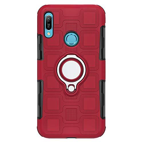 Hülle für Huawei Y6 2019 MRD-LX1 / Y6 Prime 2019 MRD-L21 MRD-L21A / Y6s 2019 JAT-LX1 JAT-L21 JAT-LX3 JAT-L23 JAT-L29 JAT-L41 / Honor Y6S Hülle + 360 Hülle Grad drehbarer Ringhalter. Seitenständer, Rot