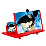 Screen Magnifier -12 Inches 3D HD Cell Phone Magnifying Projector Screen Accessories for Videos, Movies, and Games, Foldable Phone Stand with Screen Amplifier, Compatible with Any Smartphones (Red)