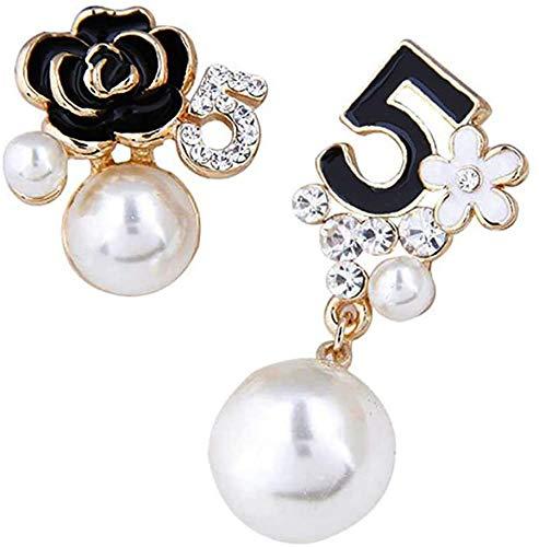 Faux Imitation Perle Blanc Noir Boucles D'oreilles Pendantes À Fleurs Boucles D'oreilles