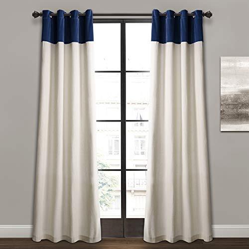 "Lush Decor Milo Linen Window Curtain Panel Pair, 84"" x 52"", Navy & Off-White, Navy"