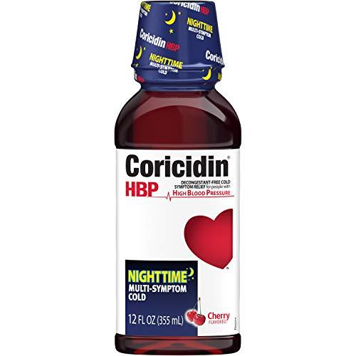 Coricidin HBP Nighttime Multi-Symptom Cold Liquid Cherry, 12 Fl Oz (Pack of 3)