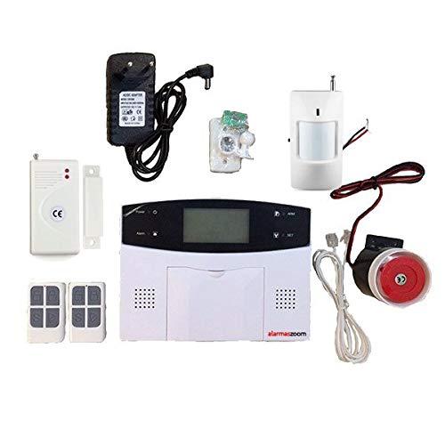 Alarma GSM para casa, hogar en propiedad AZ023 GSM linea teléfono fijo RJ-11 Sin Cuotas Con teclado Castellano GSM. Facil instalar. Sin conexion central receptora de alarma (Kit Básico)
