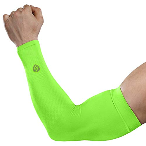 SHINYMOD Cooling Sun Sleeves 2018 Newest Upgraded Version 1 Pair/ 3 Pairs UV Protection Sunblock Arm Tattoo Cover Sleeves for Men Women Cycling Driving Golf Running-(1 Pair Neon Green)