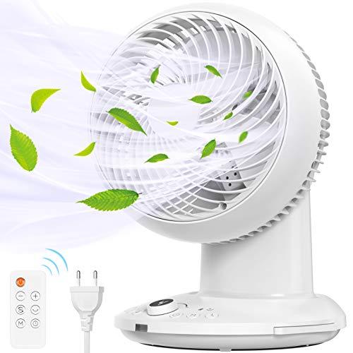 Ventilador de Circulación de Aire, Mini Ventilador Silencioso con Control Remoto Modo 3D 360 ° Swing 4 Speed 8h Temprizador Ventilador de Circulación de Aire para Oficinas y Dormitorios 35m²