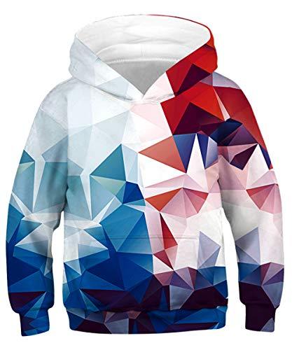 ALISISTER 3D Druck Hoodie Kapuzenpullover Kinder Coole Bunte Geometrie Muster Hooded Sweatshirt Beiläufig Langarm Pulli Hoody Outfits L