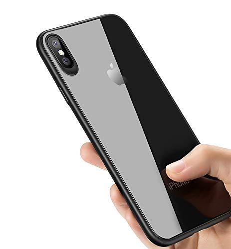 synmixx Custodia iPhone XS, Cover iPhone X, Silicone Cover per iPhone X Trasparente Protettiva Cover Ultra Sottile Anti-graffio Shock-Absorption TPU Bumper Case per iPhone XS/iPhone X Caso - Jet Nero