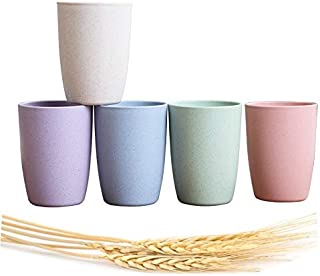 Choary Eco-friendly Unbreakable Reusable Drinking Cup for Adult (12 OZ), Wheat Straw Biodegradable Healthy Tumbler Set 5-Multicolor, Dishwasher Safe