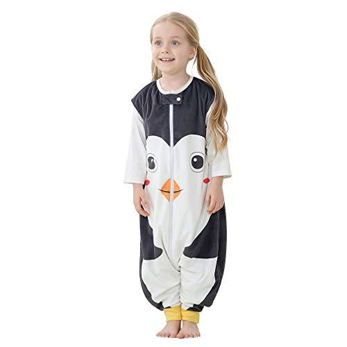 MICHLEY baby schlafsack mit Füßen, mädchen und Junge Schlafstrampler Vierjahreszeiten,Pinguin 1-3 Jahre
