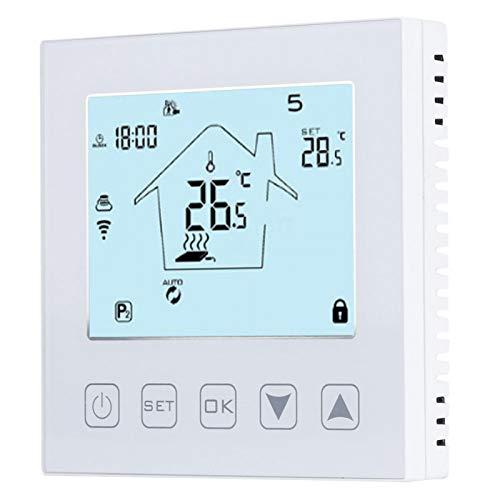 Clasken Termostato, Pantalla LCD eléctrica, Controlador de Temperatura de fácil instalación con Bloqueo de Seguridad para Calentamiento de Agua para calefacción por Suelo Radiante