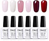 Elite99 Smalto Semipermanente per Unghie 6pzs Set di Smalti Gel gel Semipermanente Unghie Kit da UV LED Smalto per unghie Smalti Gel Polish per Unghie Soak Off Manicure,10ML ZH021
