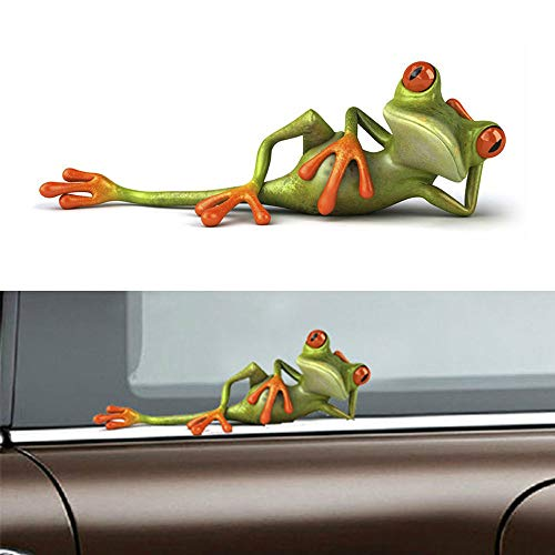 Barhunkft(TM) Car Windshield Sticker 3D Funny Green Lying Frog Wall Window Vinyl Decal Sticker(Random Color),Some Color Difference