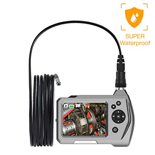 Teslong Industrial Endoscope, Newest Upgrade Waterproof Borescope Inspection Camera with 0.21inch Gooseneck, 3.5inch LCD Screen, 6 LED Lights, 2600mAh Lithium-Ion Battery, Tool Box (3m/9.8ft)