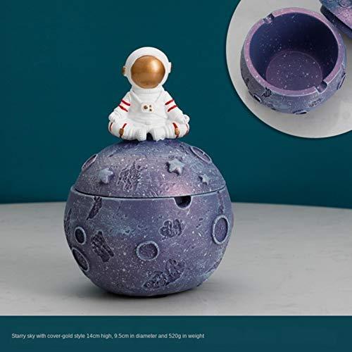 HUAYING Cenicero de astronauta sellado con cubierta anti mosca Cenicero creativo personalidad adornos simple sala de estar hogar cenicero