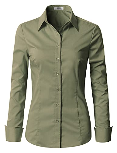EZEN Womens Slim-Fit Long Sleeve Stretchy Button Down Collar Office Formal Casual Shirt Blouse (Medium, Army Green, m)