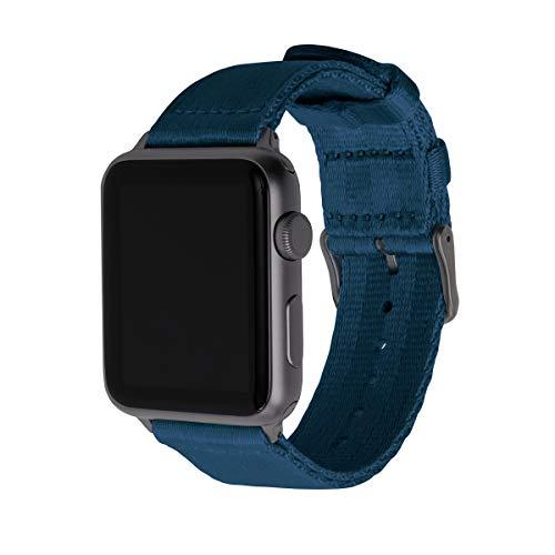 Archer Watch Straps - Premium-Uhrenarmbänder aus Nylon-Sitzgurtmaterial für die Apple Watch (Navy Blau/Space Grau, 42/44mm)
