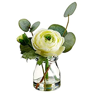 SilksAreForever 5.5″ Silk Ranunculus Flower & Eucalyptus Leaf Arrangement w/Glass Vase -Soft Yellow (Pack of 12)