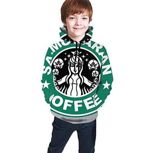 shenguang Metroid Starhunt Samus Aran Kaffee 3D-Druck Pullover Hoodies Kapuzenpullover Sweatshirts für Kinder Teenager Jungen Mädchen
