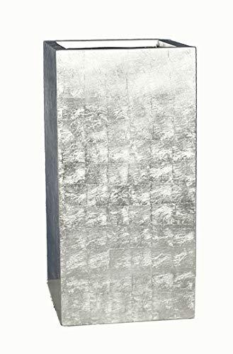 Pflanzkübel L38x B38x H70cm aus Fiberglas in Hochglanz Silber, Pflanztopf, Blumenkübel