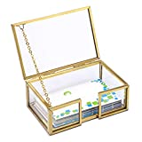 Hipiwe Glass Business Card Holder Box with Lid - Desktop Name Card Display Box Organizer Gold Metal Business Card Container Box for Office Countertop