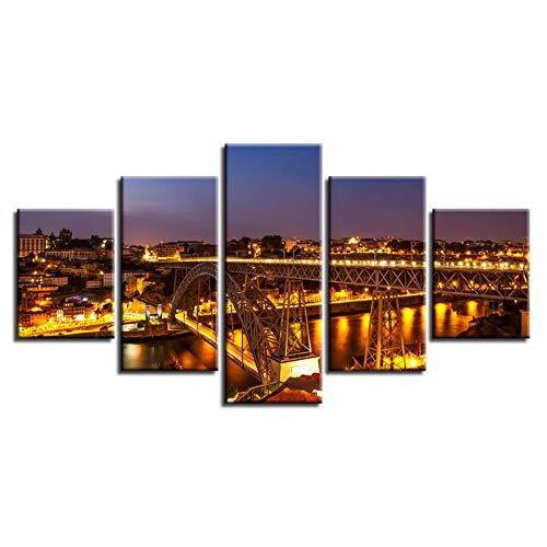 WLWIN Leinwand HD Drucke Poster Wandkunst 5 Stücke Porto Ponte Dom Luis Ich Brücke Lichter Gemälde Nightscape Bilder Modular Home Decor