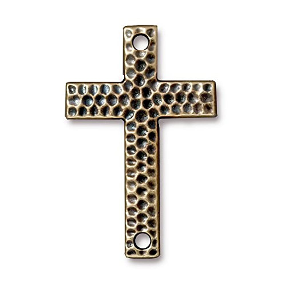 TierraCast Link Hammered Cross, 40mm, Antique Brass Oxide Finish Pewter, 2-Pack
