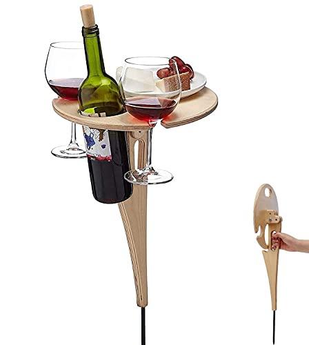 Mesa de vino al aire libre Mesa de picnic portátil, Mini mesa de picnic de madera de escritorio redonda plegable, Estante para copas de vino de playa con césped para jardín al aire libre