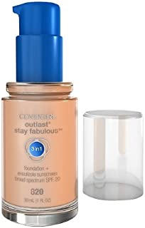 Covergirl Outlast Stay Fabulous 3 in 1 Foundation and Broad Spectrum SPF 20, #820 Creamy Natural - 1 Oz, Pack of 2