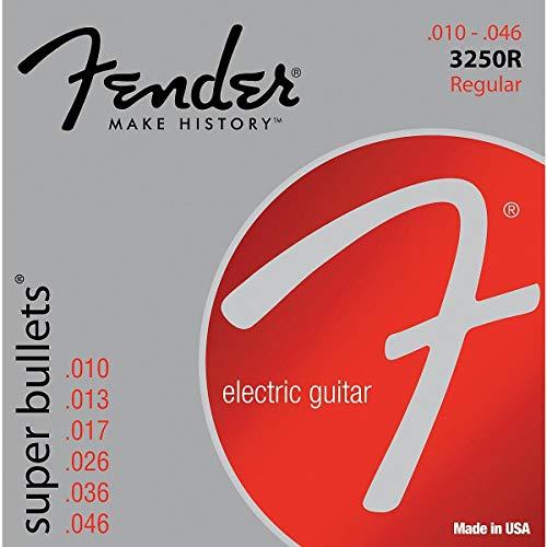 Fender, accessori in acciaio nichelato Roundwound, per bassi 1 10-46 Super Bullets