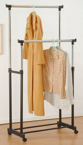 Legacy Decor 2 Steels Garment Rack with Wheels