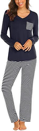 Pijama Mujer De 2 Piezas con Manga Corta Pantalon Largo Ropa De Dormir Algodón Nightwear Elegante Camisetas + Pantalones (Z-Azul, XL)