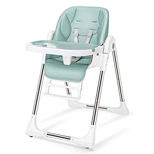 CCLLA Einfacher klappbarer Babyhochstuhl, Säuglingsernährungssitz zum Essen - mit abwaschbarem Tablett und 5-Punkt-Gurt (Farbe: GRÜN)