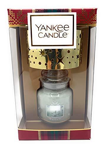 YANKEE CANDLE White Fir mit Lampenschirm Geschenk Set, Glas, Mehrfarbig, 18,5cm