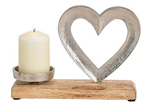 Wurm - Kerzenhalter Herz aus Metall, Mangoholz Silber (B/H/T) 24x18x8cm