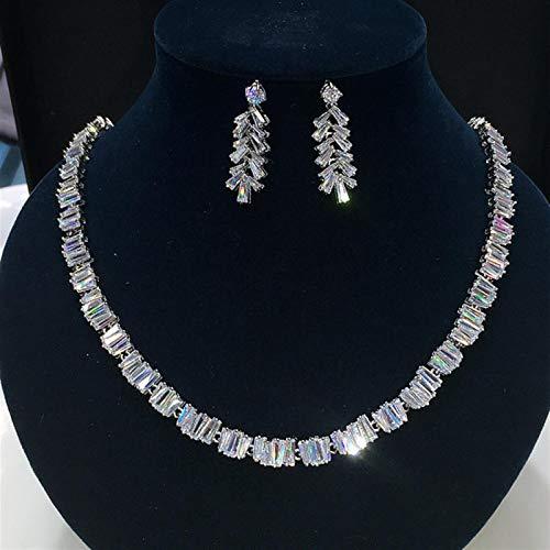 SLFDXDP Conjuntos de Joyas Estilo Nuevo AAA CZ Jewelry Set Pendientes Collar Party Set para Mujeres Y Niñas (Color : Platinum Plated)