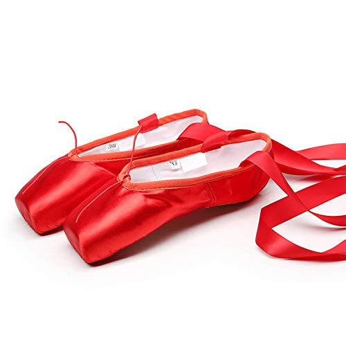 Mettime Ballett Spitzenschuhe Satin Professionelle Tanzschuhe Ballerinas mit Aufgenähten Bändern für Damen Mädchen (Bitte wählen Sie eine Nummer größer)