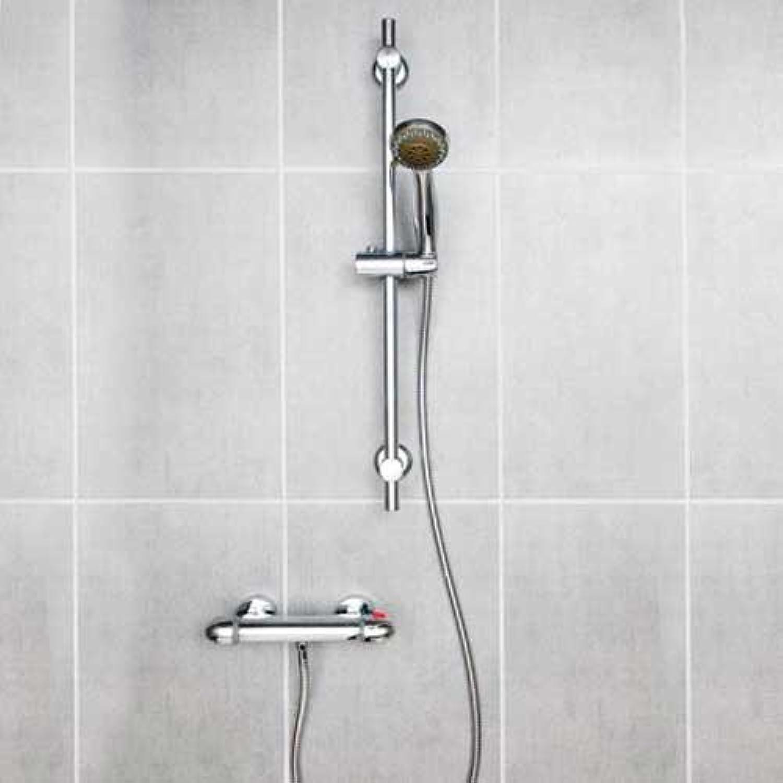 Chrome Thermostatic Bathroom Mixer Valve Bar Shower Set Regal Round & Easy Fix Kit