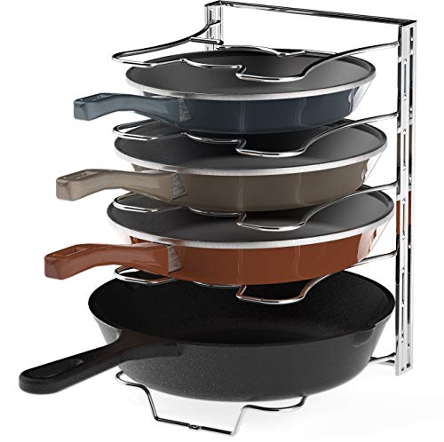 Simple Houseware Kitchen Cabinet 5 Adjustable Compartments Pan and Pot Lid Organizer Rack Holder, Chrome