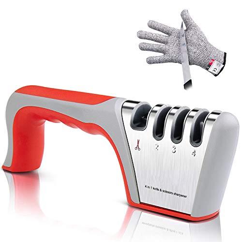 Tintec Afilador de Cuchillos, Afilador Cuchillos Profesional con 4 Ranuras para Cuchillos de Cocina Afilador Manual para Cuchillos de Todo Tamaño del Hogar, con Guantes Anticortes