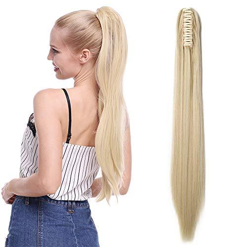 TESS Pferdeschwanz Extensions Blond Ponytail Haarteil Haarverlängerung Clip in Synthetik Haare für Zopf Haarteil Hair Extensions Glatt 21