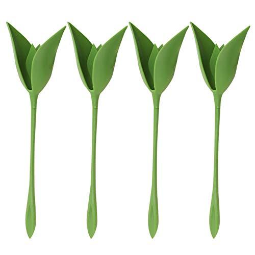 Wangduodu 12 Piezas Servilleteros Bloom, Soporte de plástico para servilletas, Soportes de Flores giratorias en Forma de Tallo Verde para decoración de Mesa de Fiesta Familiar