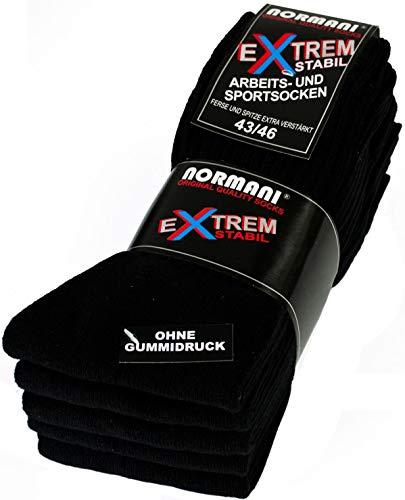 normani 10 Paar EXTREM Stabile Arbeitssocken Socken - Ferse & Spitze EXTRA verstärkt - ohne gummidruck ! Farbe Schwarz Größe 39-42