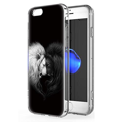 Pnakqil iPhone 6s / 6 Cover Trasparente, Premium Custodia Silicone con Disegni Leggero Ultra Sottile TPU Morbido Antiurto 3D Pattern Bumper Case per iPhone 6s / 6, Leone