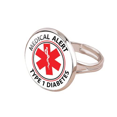 Alerta médica tipo 1 anillos de diabetes para hombres y mujeres símbolo de emergencia diabético anillo de apertura redonda joyería regalo