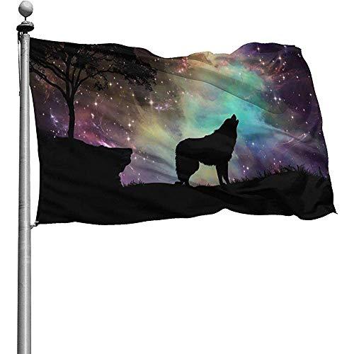 Dem Boswell Gartenfahne Nacht Wolf Galaxy Sky Gartenfahnen Langlebig Verblassen Beständig Dekorative Fahnen Außenbanner Für Alle Jahreszeiten Ferien 180 X 120 cm